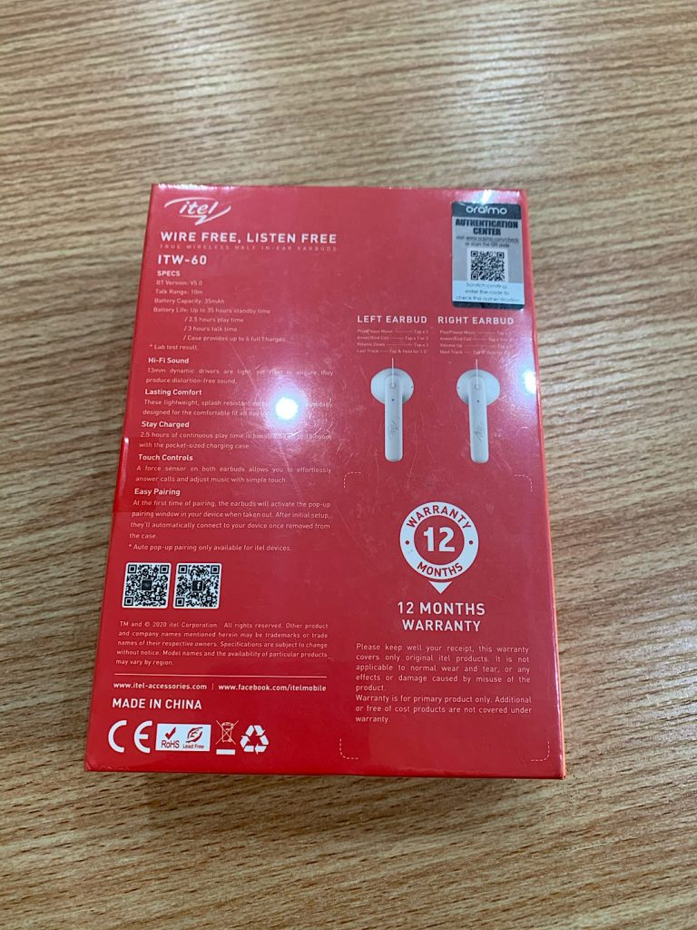 ITW-60 earbuds specification